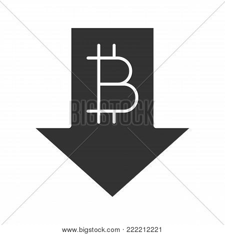 Bitcoin rate falling glyph icon. Silhouette symbol. Cryptocurrency with down arrow. Bitcoin collapse. Negative space. Vector isolated illustration