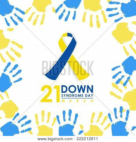 World down syndrome day - 21 march with Blue and Yellow ribbon sign and Blue and yellow hand paint sign frame vector banner design