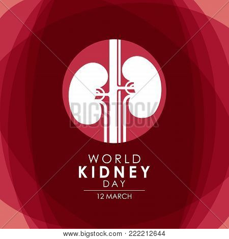 World Kidney day - 12 march with Kidney in circle sign on abstract red background