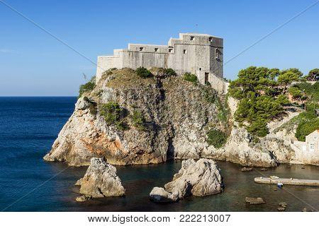 View of Fort Lovrijenac (St. Lawrence Fortress) in Dubrovnik, Croatia.