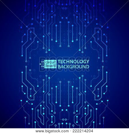High-tech technology background texture. Blue circuit board vector illustration.