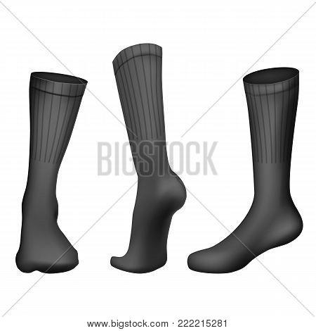 Vector Realistic Football socks Black. Template Editable Illustration isolated