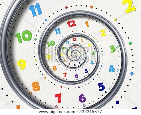 Abstract Modern white rainbow spiral clock fractal background. Twisted clocks watch unusual abstract texture fractal High resolution surreal clock spiral fractal background. Time spiral clock concept. Round surreal clock spiral