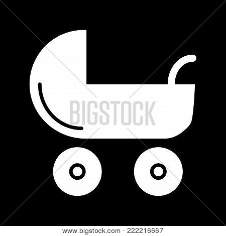 Baby carriage vector icon. Black and white pram illustration. Solid linear newborn icon. eps 10