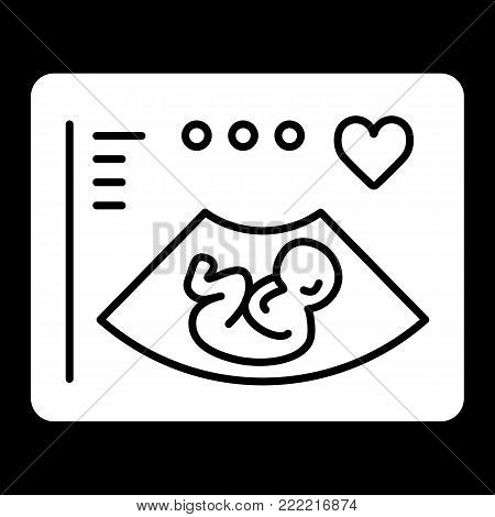 Ultrasonography vector icon. Black and white screening baby illustration. Solid linear icon. eps 10
