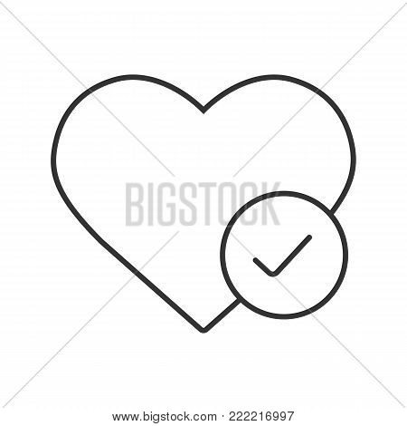Heart with check mark linear icon. Mobile phone app. Thin line illustration. Health care. Cardiology contour symbol. Vector isolated outline drawing