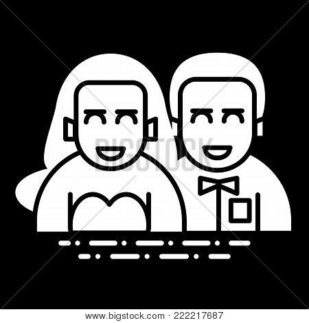 wedding couple flat, line icon. newlyweds vector icon on black background. Valentine Day concept. Solid design