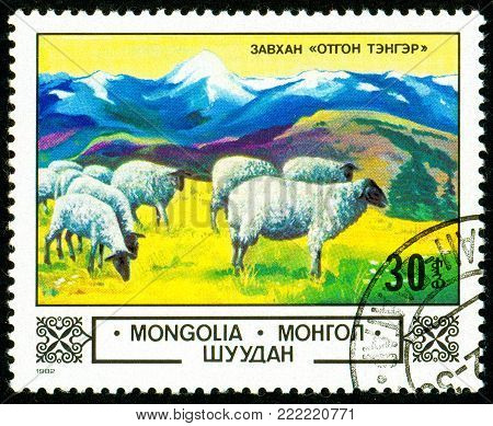 Ukraine - circa 2018: A postage stamp printed in Mongolia show Domestic Sheep or Ovis ammon aries in the Highlands. Series: Animals and landscapes. Circa 1982.