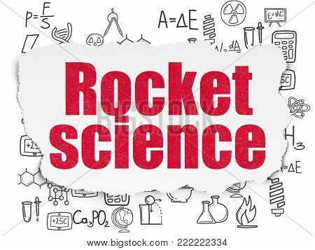 Science concept: Painted red text Rocket Science on Torn Paper background with  Hand Drawn Science Icons