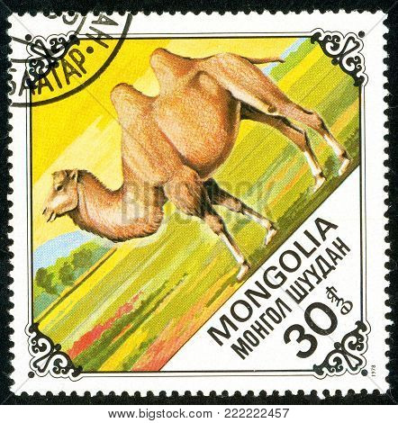 Ukraine - circa 2018: A postage stamp printed in Mongolia show Bactrian Camel or Camelus bactrianus. Series: Camels. Circa 1978.