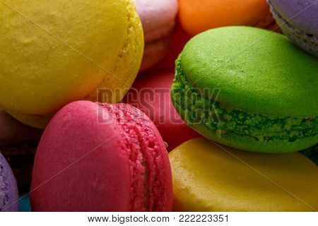 Colorful macaroons cake. Closeup macaroons on white background. Close up macro photo