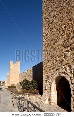 Walls of Montblanc in Tarragona province, Catalonia, Spain
