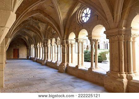 Cloister of the monastery of Vallbona de les Monges, Lleida province, Catalonia, Spain