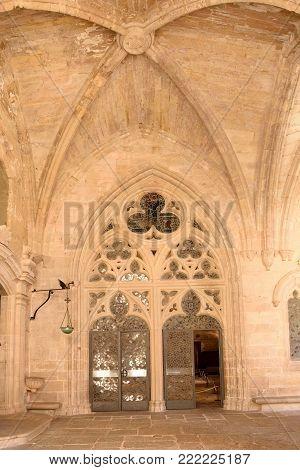 Cloister of the monastery of Vallbona de les Monges (entrance), Lleida province, Catalonia, Spain