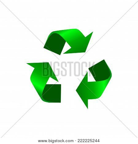 Green Recycle icon vector. Realistic recycle sign