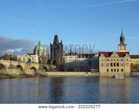 PRAGUE, CZECH REPUBLIC - DECEMBER 10, 2016: The Charles bridge and Novotneho footbridge