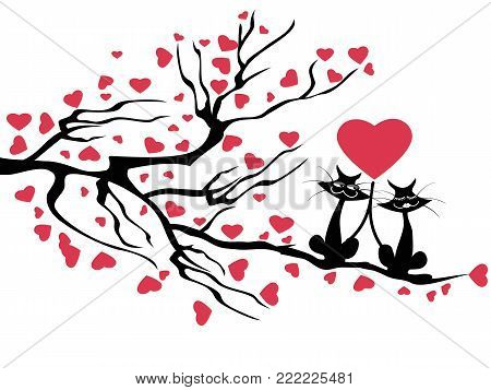 isolated love cats tree,vector on white background