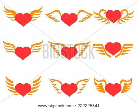 isolated red heart wings icons set on white background