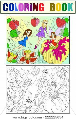 Fairy-tale world of fairies coloring book for children cartoon vector illustration. White, black and color