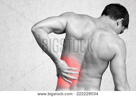 Man Back Pain Back Pain Image Red Background