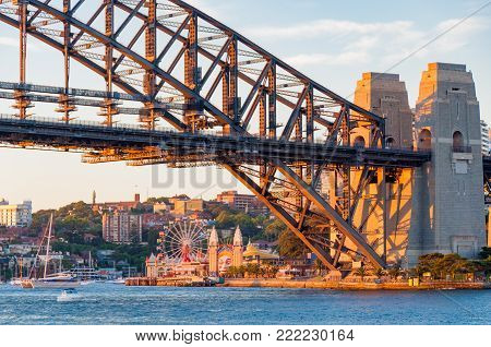 Sydney, Australia - November 30, 2008: Sydney Harbour Bridge and Sydney Luna Park