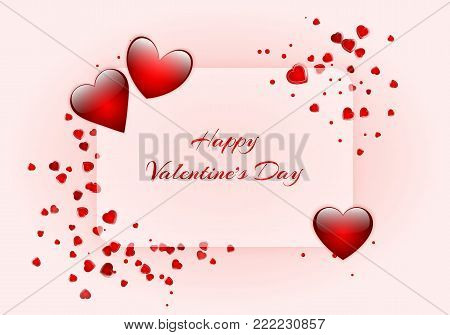 Romantic background with shiny red hearts, falling confetti and a place for a greeting text for Valentine's Day or Mother's Day. Vector illustration