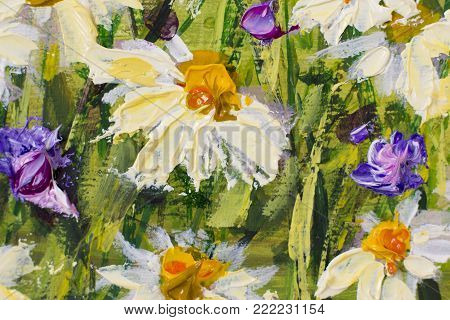 Oil painting of white daisies flowers, beautiful field flowers on canvas. Palette knife Impasto artwork. Hand painted floral artwork.