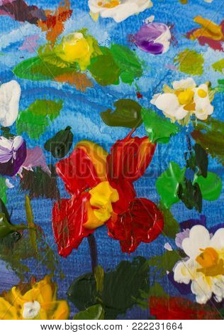 Original handmade abstract oil painting bright flowers made palette knife. Red, yellow, blue, purple abstract flowers. Macro impasto painting.