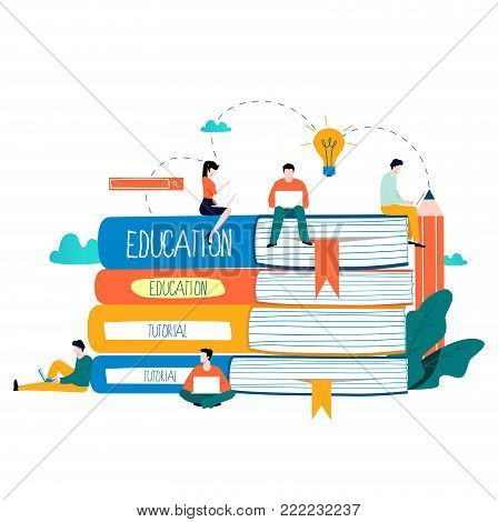 Education, online training courses, distance education vector illustration. Internet studying, online book, tutorials, e-learning, online education design for mobile and web graphics