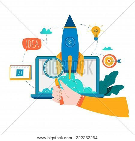 Business project startup process, startup idea launching, project management, startup launch flat business vector illustration design