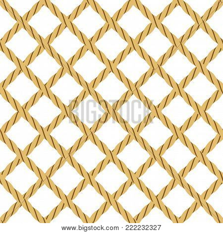 Seamless Background with Rope, in Shape of Grid, Isolated on White. Tile Pattern for Your Background. Vector