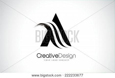 A Letter Design Brush Paint Stroke