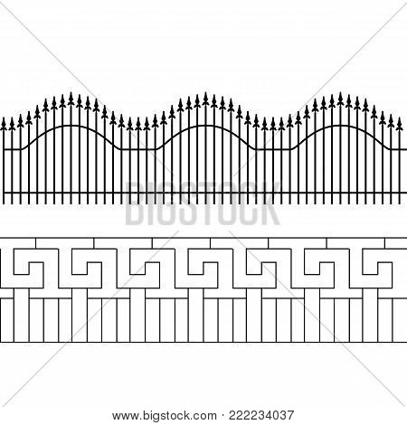 Silhouette of decorative fence. Territory fencing. Vector Illustration. EPS10