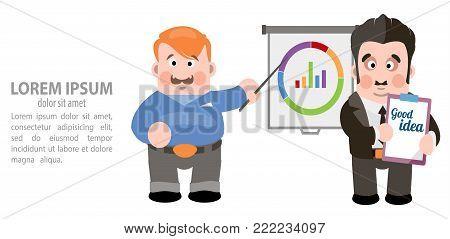 Men present their idea. Vector illustration on white background.