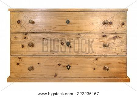 Old wooden commode isolated on white background
