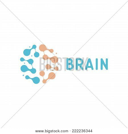 Neurons and symapses icon. Human brain connections. Neural network, memory atlas, minimal design vector logo