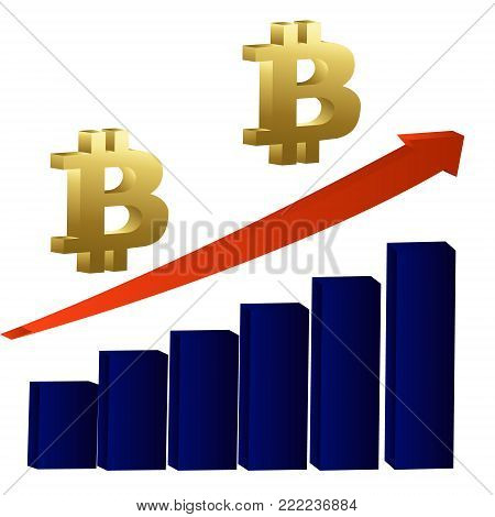 Bitcoin growth concept. Bitcoin revenue illustration. Stacks of gold coins like income graph with bitcoin. Vector illustration isolated on colored background