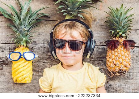 A Pineapple Boy And Pineapples On Vacation
