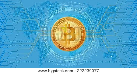 Horizontal web banner with golden bitcoin and blue background with digital connection lines