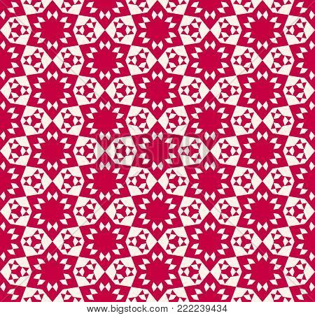 Abstract geometric floral seamless pattern. Elegant festive red and beige texture. Ornamental geometric floral background. Traditional Asian motif. Chinese pattern. Japanese pattern. Repeat design for decor, clothing, textile, fabric, covers