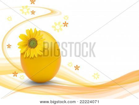 yellow easteregg with white background ans swirls for making a postcard