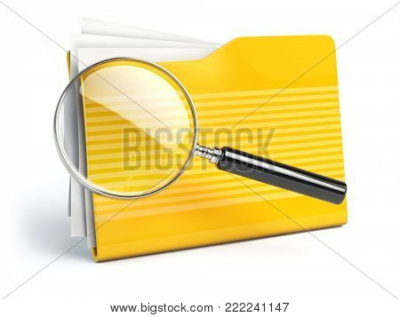 File search concep.  Folders and loupe or  magnifying glass. 3d illustration