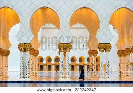 ABU DHABI, UNITED ARAB EMIRATES - DEC 31, 2017: Part of the exterior of the Sheikh Zayed Mosque in Abu Dhabi. It is the largest mosque in the country.