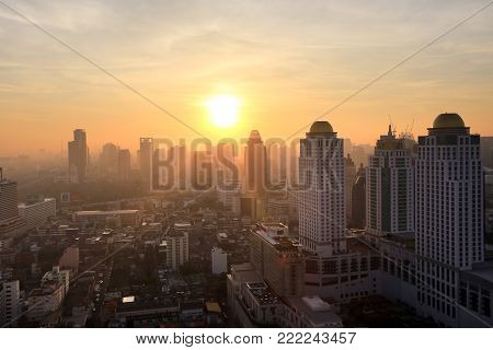 Bangkok, Thailand - December 15, 2015: Beautiful Foggy Sunset Over Bangkok, View From Skyscraper Dec