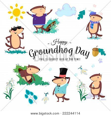 Happy Groundhog Day design with cute marmot holds flower - white snowdrop, prediction of weather, animal climbed out of ground burrows after wintering vector illustration.