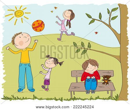 Happy children playing outside in the park, daddy and his little daughter playing with ball, happy girl chasing butterflies and one boy is sitting on the bench under the tree - original hand drawn illustration