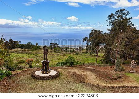 View from Up Country at Sun Yet-sen Park near Ulupalakua, Maui, Hawaii