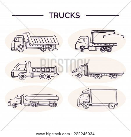 Hand drawn doodle truck set. Vector illustration. Isolated elements on white background. Symbol collection.