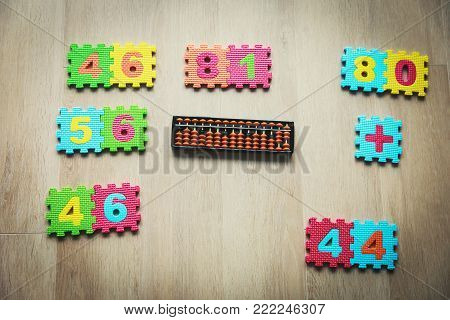 kids learning numbers, mental arithmetic, abacus calculation concept