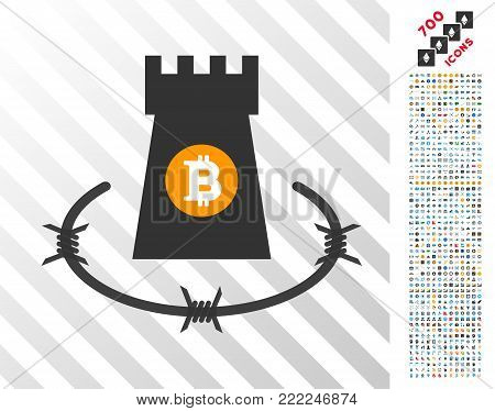 Bitcoin Barbwire Bulwark pictograph with 7 hundred bonus bitcoin mining and blockchain design elements. Vector illustration style is flat iconic symbols design for crypto currency apps.